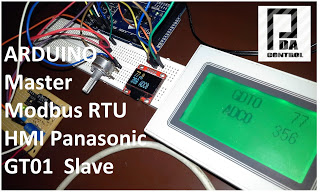 Modbus RTU Master tests with Arduino via RS232 and screen Panasonic GT01