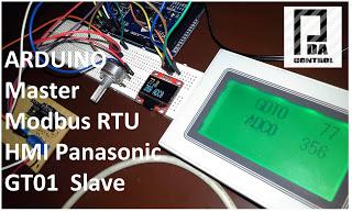Modbus RTU Master tests with Arduino via RS232 and screen Panasonic GT01