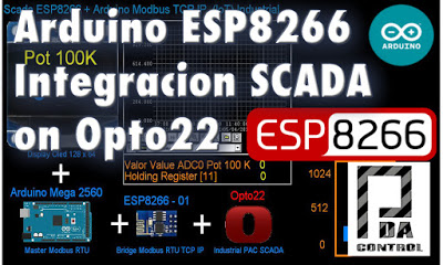 Arduino + ESP8266 + Software Opto22  example Scada Industrial