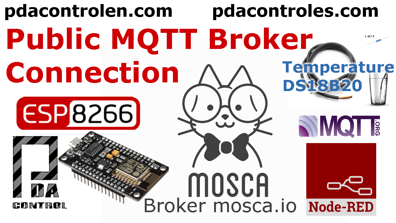 ESP8266 & Public Broker MQTT mosca.io & Node-RED