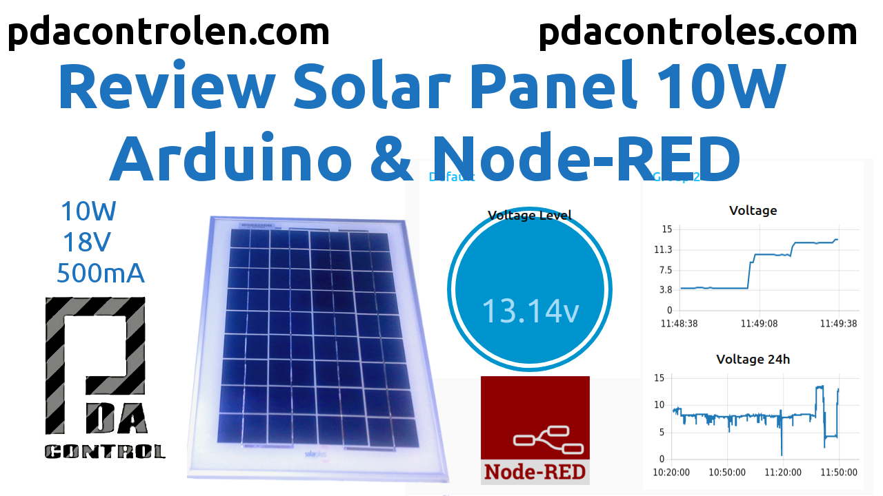 Review Solar Panel 10W with Arduino and Node-RED