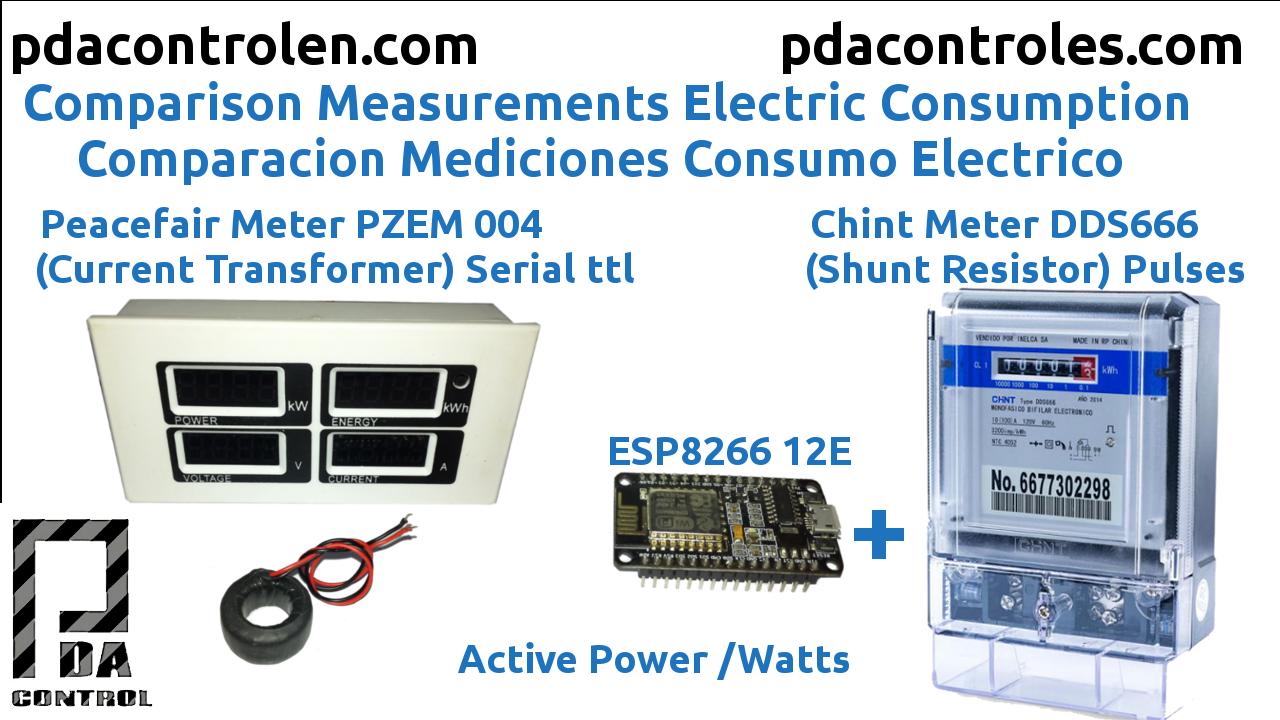 Comparison Measurements Peacefair Power PZEM 004 VS Chint DDS666 & ESP8266
