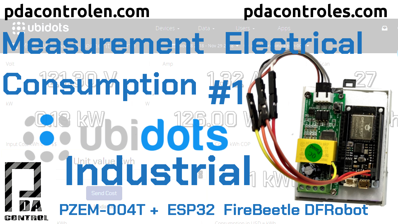Measurement Electrical consumption with Ubidots Industrial & ESP32 + PZEM-004T