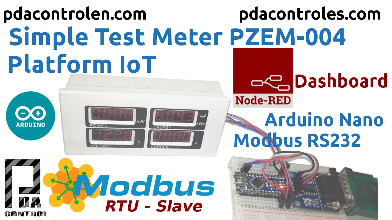 Meter PZEM-004 + Arduino Nano Modbus RTU (RS232) & Platform IoT Node-RED