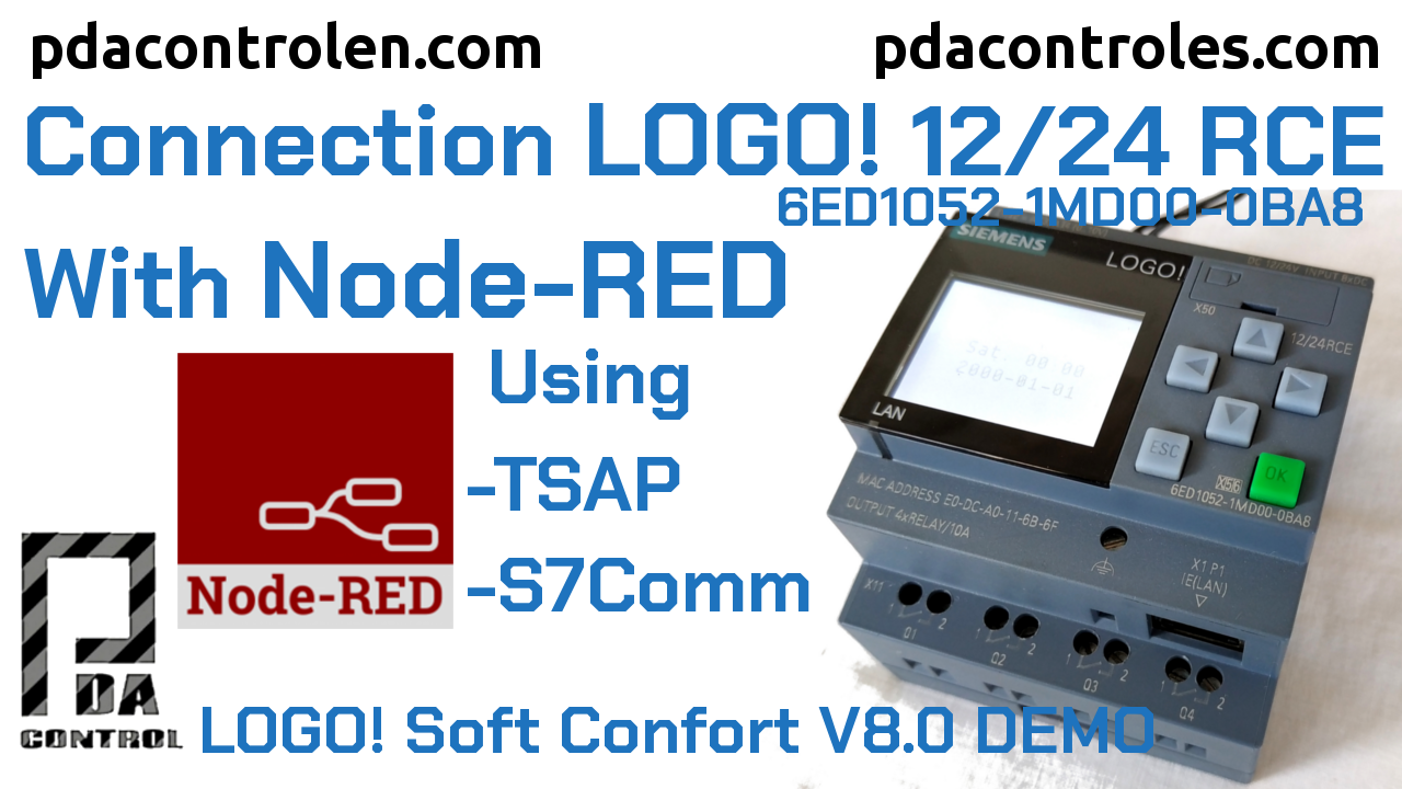 Connection LOGO! 0BA8 Siemens Ethernet with Node-RED S7COMM Protocol