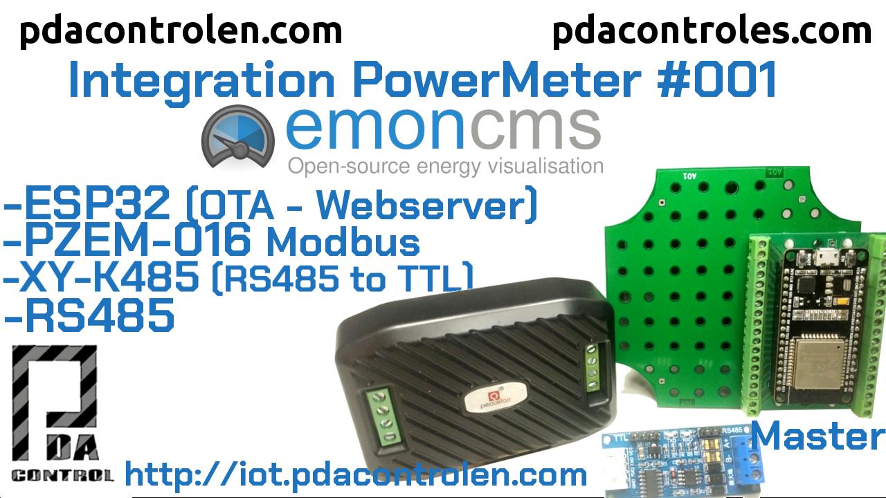 ESP32 + Modbus Meter PZEM-016 RS485 and Emoncms Platform # 001